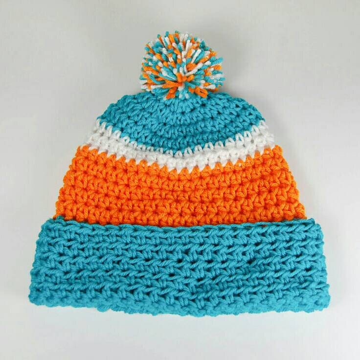 ... sweden miami dolphins crochet beanie aqua orange and white handmade  homemade warm hat 2a467 587f6 680c8cfb03bd