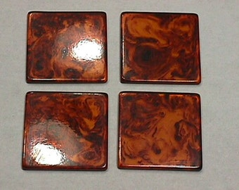 Four Vintage Swril Pattern Lucite or Bakelite ? Square Pieces in Unused Condition