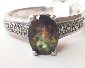 Bi- Color Tourmaline Sterling Silver Ring, Natural Gemstone, Natural Bi- Color Tourmaline, October Birthstone