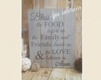 Bless the food before, the family beside us and the love between us, reclaimed pallet sign, distressed wood, kitchen decor, dining room sign