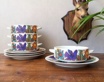 Reserved Villeroy And Boch Acapulco Soup bowls And Saucers 70s' Kitchenware