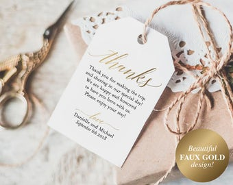 Faux Gold Thank You Tags, Wedding Thank You Tags, Gift Tags, Wedding Favor, Wedding Printable, PDF Instant Download #BPB324_32