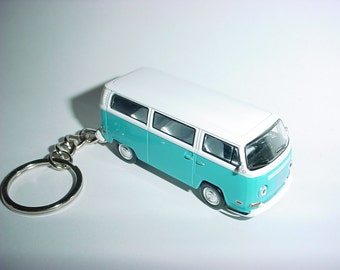 3D Volkswagen 'LOST:Dharma Iniative' bus custom keychain by Brian Thornton keyring key chain finished in blue/white trim metal body vw