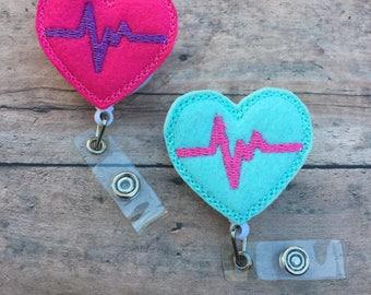 EKG Heart Badge Reel - Felt Badge Reel - Heart Badge Clip - Retractable ID Badge Holder - Cardiac Nurse Gift - RN Badge Pull - Pink - Aqua