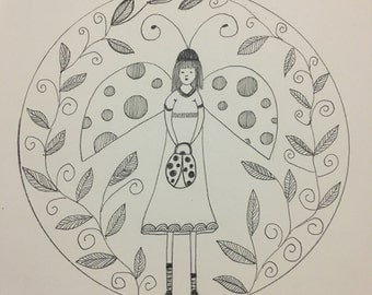 Ladybird Fairy Wall Art Print of Original Ink Drawing - Limited Edition Signed Illustration Resting Faerie