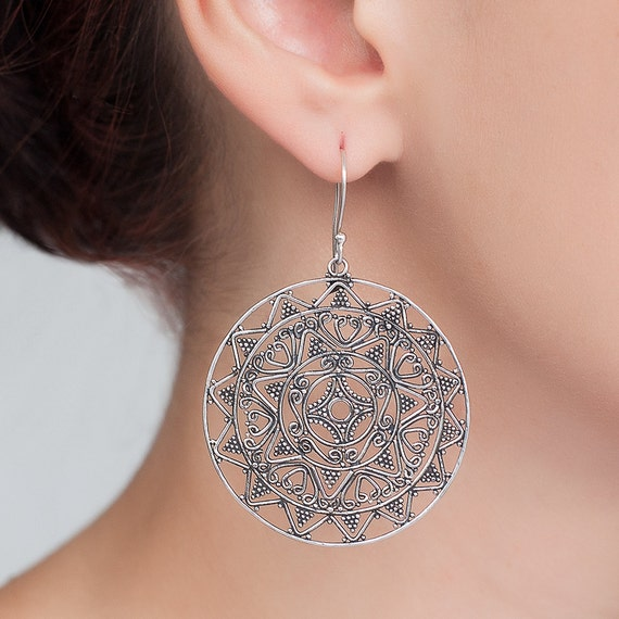 Statement  silver round earrings. everyday earrings. round silver earrings. Unique bohemian, hand made, traditional filigree earrings.