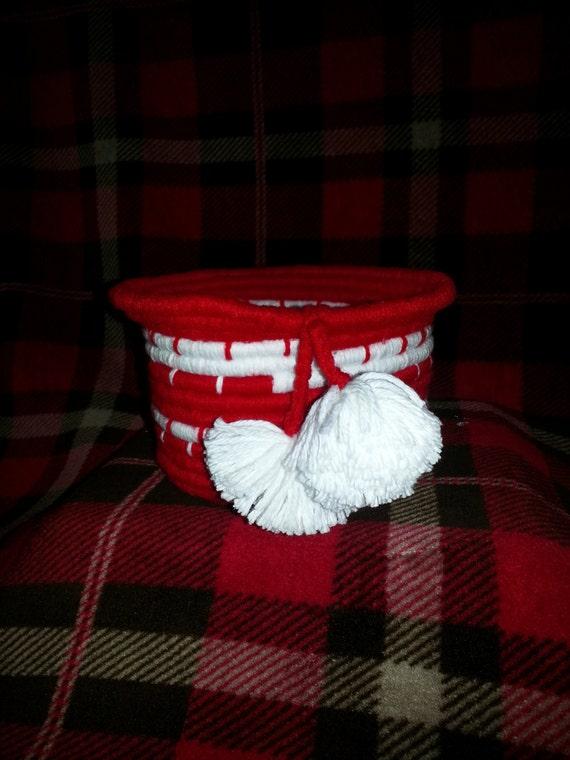 Medium Christmas Handwoven Coil Basket/Bowl w/ pom-poms