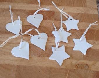 8x star & hearts decorations