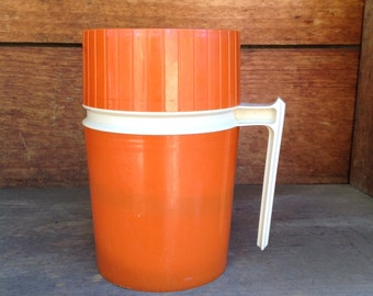 Thermos, Vintage Orange Thermos, Wide Mouth Thermos, 70s Kitchen Decor, Orange Thermos, Lunchbox Thermos, Insulated Thermos, Camping Gear