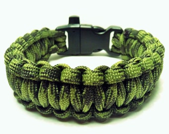 "Paracord Bracelet ""Ground War"" with Whistle Handmade Camo Survival Hiking Hunting USA Made"
