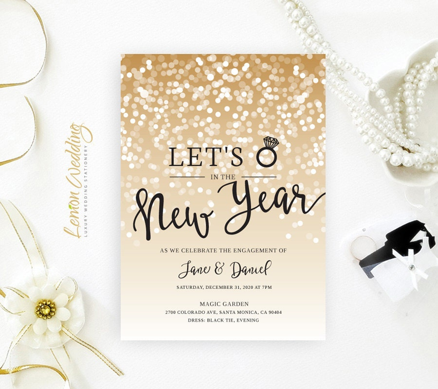 New Years Eve Engagement Party Invitations Printed On Shimmer