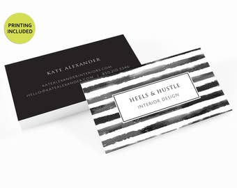 Watercolor Striped Printed Business Cards - personalized,business card printing,custom business card,watercolor,striped,black