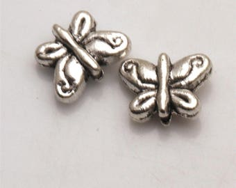 40 Pcs Silver Tone Butterfly Spacer Beads 8x10mm