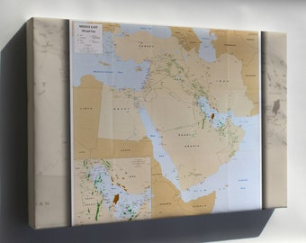 Canvas 24x36; Cia Map Of Middle East Oil And Gas P2