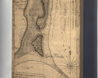 Canvas 24x36; Map Of Cape Florida 1765