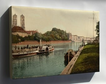 Canvas 24x36; Oder River, Cathedral Island, Wroclaw, Poland 1890 Steamboat