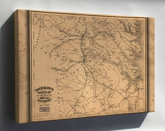 Canvas 24x36; Map Of Seat Of War Near Richmond Virginia 1862