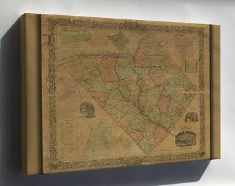 Canvas 16x24; Map Of Berks County, Pennsylvania 1854