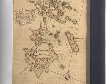 Canvas 16x24; Map Of Canso Harbor, Nova Scotia 1764