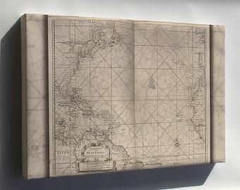Canvas 16x24; General Chart Of West Indies Cuba Florida 1700
