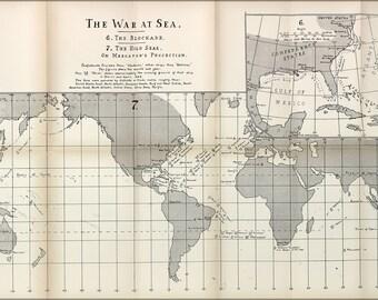 16x24 Poster; American Civil War At Sea Map 1863