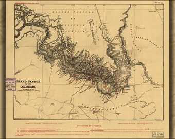 16x24 Poster; Map Of Grand Canyon Of The Colorado River 1904