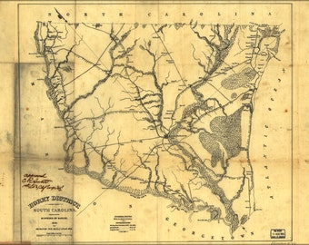 16x24 Poster; Map Of Horry District, South Carolina 1825