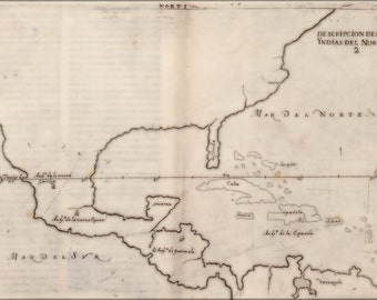 16x24 Poster; Map Of North America 1601 In Spanish