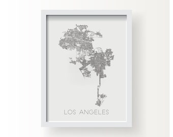 LOS ANGELES CALIFORNIA City Limit Map Print - graphic drawing art poster Dodgers Rams Angels