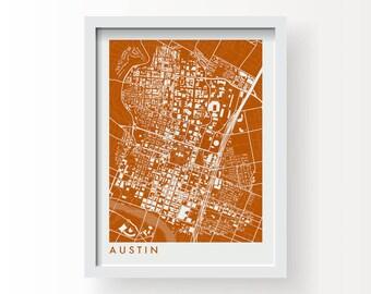 AUSTIN TX Map Print - graphic drawing art poster