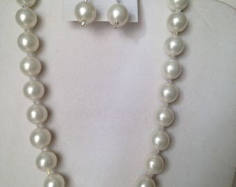 12 mm Shell Pearl Necklace and Earrings