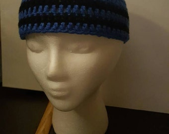 Crochet blue and black stripes beanie