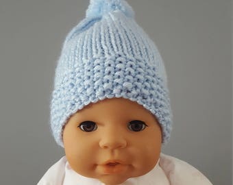 New born hat blue new born hat with pompom slouchy newborn hat with pompom handmade slouchy newborn hat for boy gift for new born baby