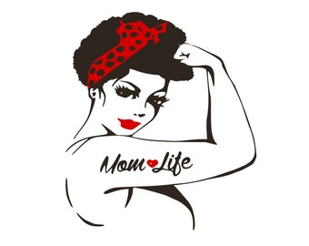 Afrocentric Mom Life, Natural Hair, Afro, Black Girl Magic, Afro Girl, SVG, Afro Punk, Dread Locs, Nappy Hair, Curly Hair, Mom Life