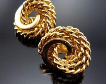 Vintage Monet Earrings Gold Plated Couture Rope Twisted Knots Signed Clips