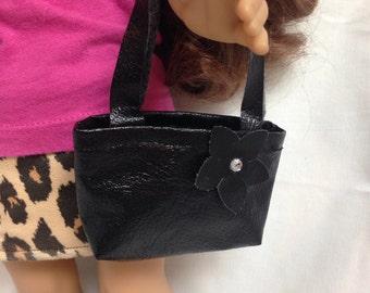 "Black ""leather"" shoulder bag purse 18 inch doll clothes"