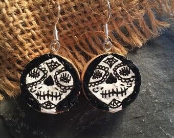 Day of the Dead Cork Earrings