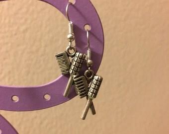 Vintage look Comb, Hairdryer earrings. Hairdresser earrings.