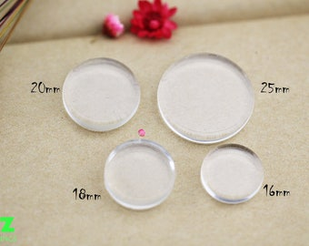 100pcs Round Flat Glass Cabochon - 16/18/20/25mm Both Side flat glass tiles -glass tiles for pendants - glass cabochon tiles