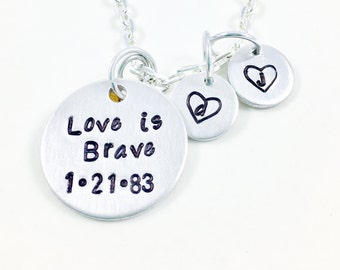 Birth mom gift birth mother gift, Birthmother forever in my heart, Adoption gifts love is brave necklace, Found my sister adoption day