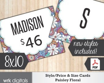 Style Price Cards, Size Card, Style Cards, Style Signs, Fashion Consultant, Pop Up Sign, Paisley Floral Design, PRINTABLE, INSTANT DOWNLOAD