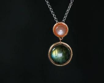Labradorite Gold Necklace Pendant-Sterling Silver Gems Necklace-Orange Moonstone-Aqua Gemstone-Mom Pendant-Gift for her