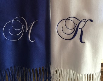 Monogrammed Single Initial Scarf - Personalized Initial Scarf - Monogrammed Initial Scarf - Embroidered Scarf - Customized Scarf