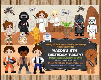 """Star Wars Birthday Invitation- Star Wars Birthday Party- Finn, Rey, BB-8, Poe, Yoda, Darth Vadar, Leia, Chewbacca -5"""" x 7"""" size-Digital"""