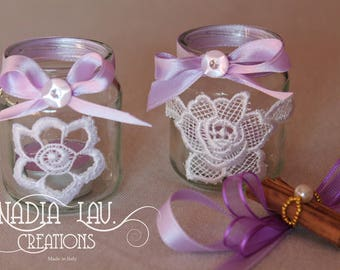 Set of two lillac candle-holder decorated with laces and ribbons