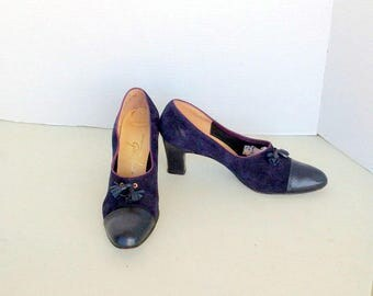sz 7.5 m vintage 60s suede and leather high heel shoes GIBBS-LOUIS label