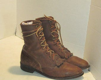 sz 7 b vintage brown oiled leather justin lace up granny combat boots