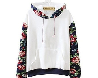 Flowered Sleeve Sweatshirt