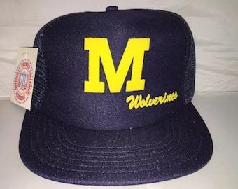 Vintage Michigan Wolverines Snapback hat cap rare 90s deadstock NCAA college football mesh trucker basketball fab five