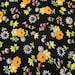 "Vintage black floral cotton print fabric 1 yard 44"" wide VF2"
